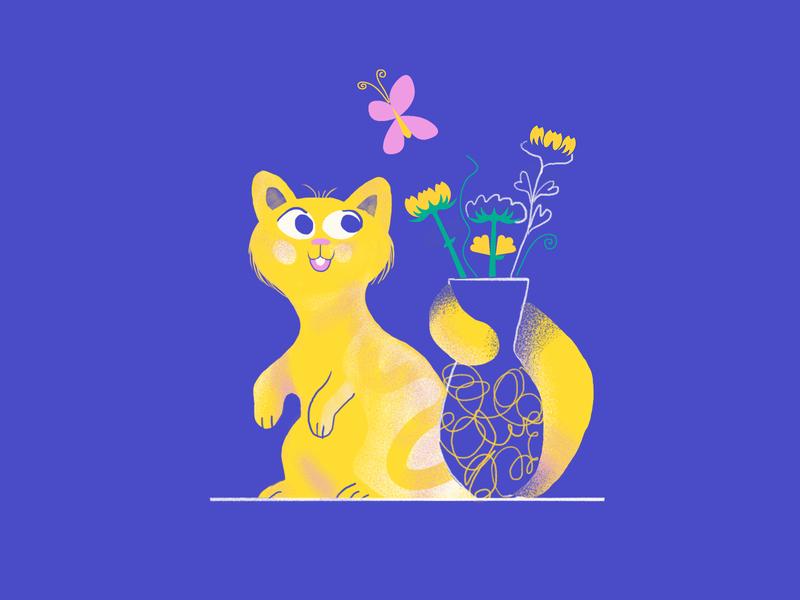 Cats & Flowers clourpalettechalenge drawing challenge drawing character characterdesign digitalart butterfly colourpalette colour flowers cats vase animal illustrator demet kural illustration