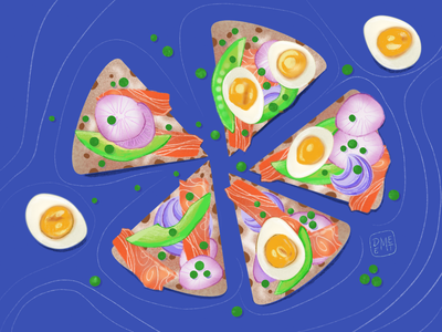 Yummy!! procreate art yummy vegetable drawing vector artwork digital painting procreate digitalart illustrator demet kural drawing challenge crisp bread salmon soft boiled eggs onion capers avokado food illustration illustration