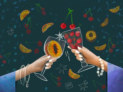 Cherries & Peaches digital drawing procreate digital people couple besties best friends friends toast celebration glass peach chery fruits design drawing artwork illustrator demet kural illustration