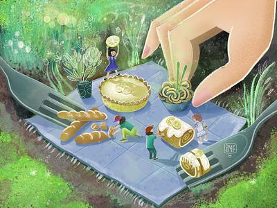 A Big Surprise For Tiny People picturebook children books challenge food illustration food picnic cake concept characterdesign digitalart procreateart procreate postcard tiny drawing character artwork illustrator demet kural illustration
