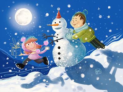 Sweet Memories of My Childhood! happy new year concept night nightlife snowman moon procreate painting digital art drawing character design character snow artwork illustrator demet kural illustration