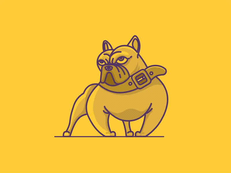 Bulldog animal simple illustration line dog bulldog