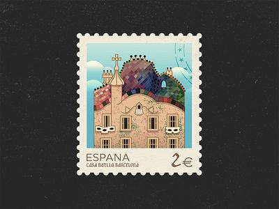Casa Batlló roof vector architecture catalonia stamp building illustration gaudi barcelona spain espana casa batlló