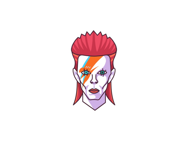 RIP David Bowie demet kural line color lineart illustration legend character portrait face ziggy stardust david bowie