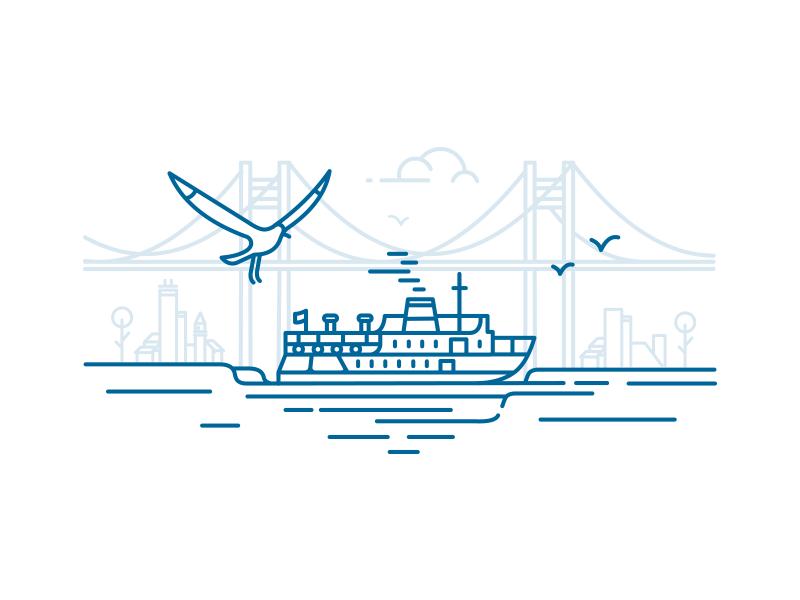İstanbul Lineart minimal wave bridge city sea ferry bosphorus illustration seagull lineart istanbul