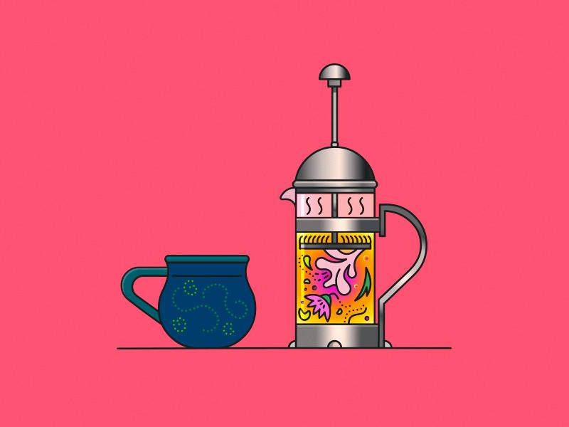 Tea Time demet kural herbal tea stroke vector lineart artwork french press cup mug teatime illustration