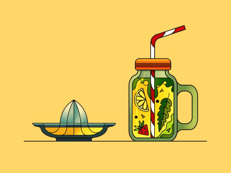Lemonade jar pipette mint basil lemon squeezer illustration lineart vector stroke demet kural lemonade