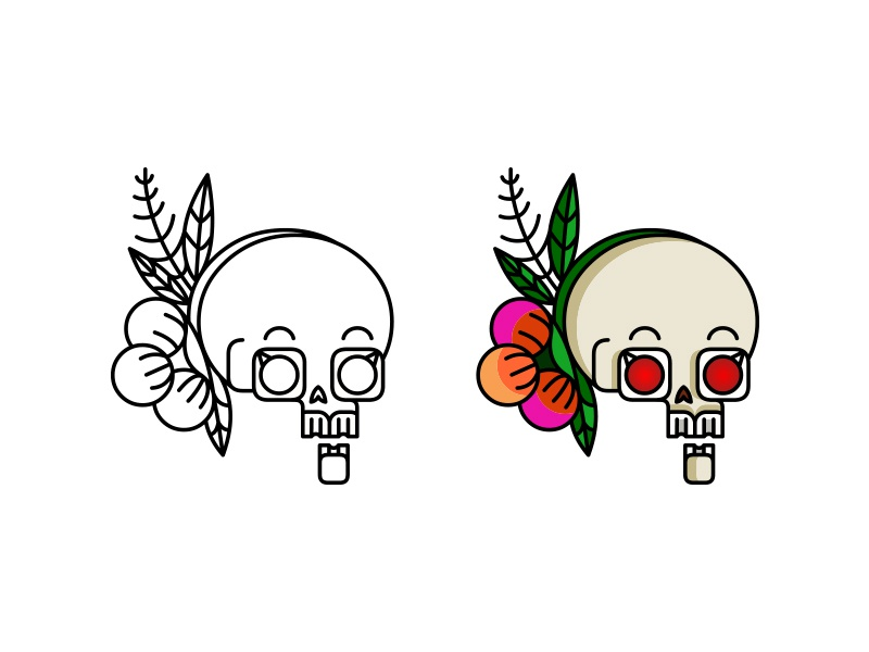 Skull Sticker skeleton skull leaf flower emoji demet kural stroke bones sticker icon lineart illustration