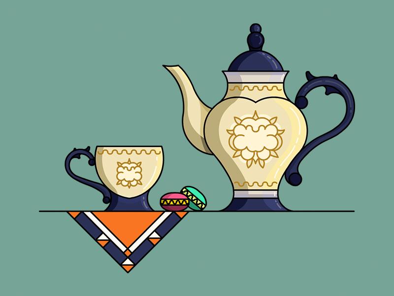 British Tea Time porcelain macaron napkin teacup tea illustration lineart vector stroke demet kural teapot