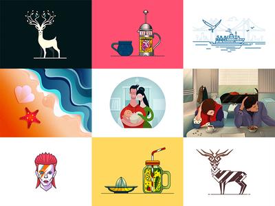 Best Nine of 2016 demet kural stroke vector art illustration dribbble shot new year best nine