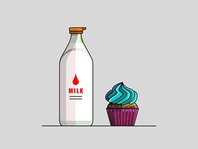 Milk & Cake stroke line icon illustration illustrator demet kural cupcake crema cake milk