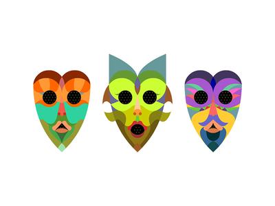 Masks  character eyes color illustration face vector mask