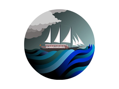 Boat sail boat flat badge ship ocean wave sea demet kural illustration