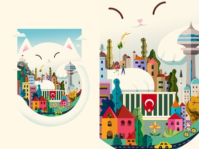 """The Embrace"" / Başkakent - Other City Ankara Exibition angora buildings flag paw embrace capital city illustration cat ankara exibition demet kural"