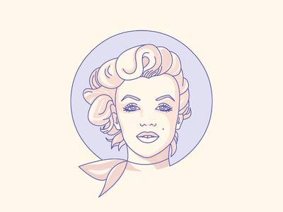 Marilyn illustrator stroke line portrait actress icon mariyln monroe illustration