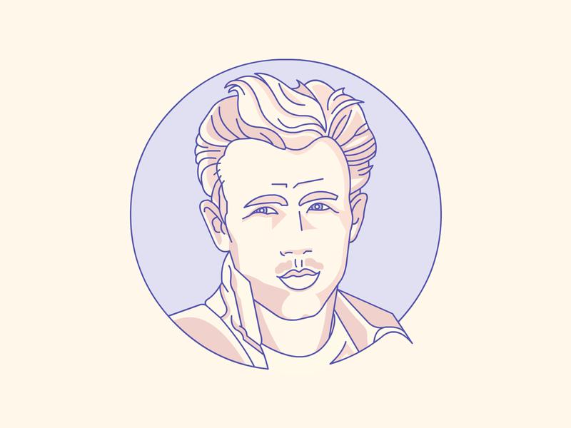 James Dean james dean demet kural hollywood legend movie star stroke lineart vector badge icon illustration portrait