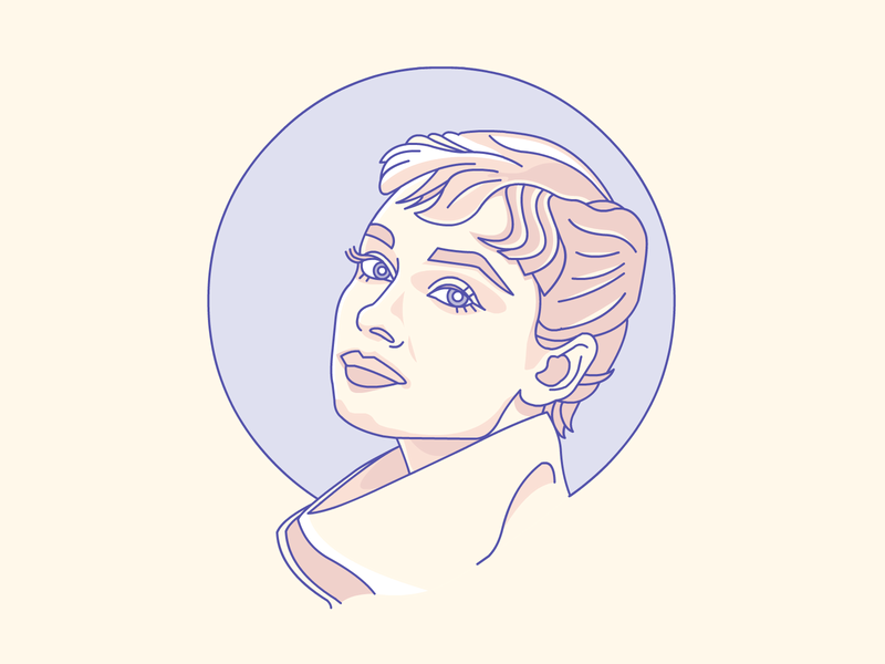 AUDREY illustrator demet kural hollywood legend movie star stroke lineart vector badge icon illustration portrait audrey hepburn