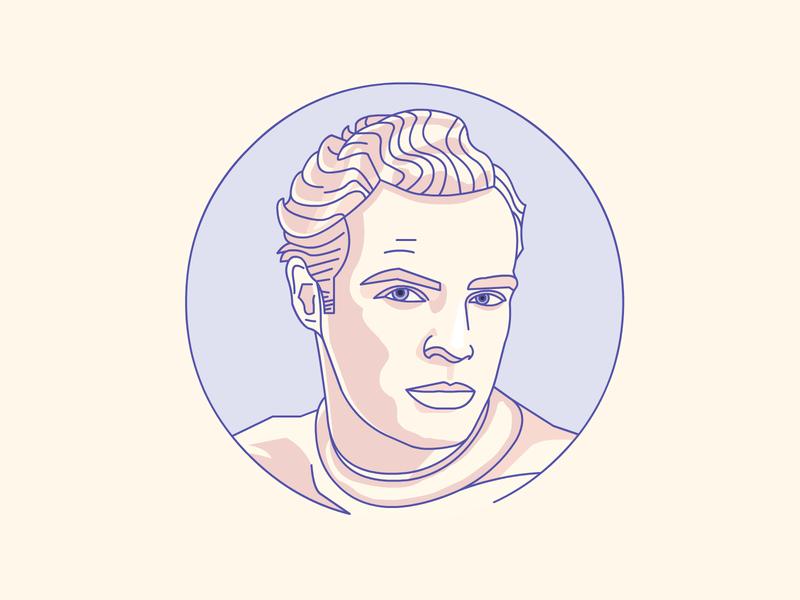 Marlon Brando artwork vector movie star character badge icon hollywood demet kural illustrator stroke lineart portrait marlon brando illustration