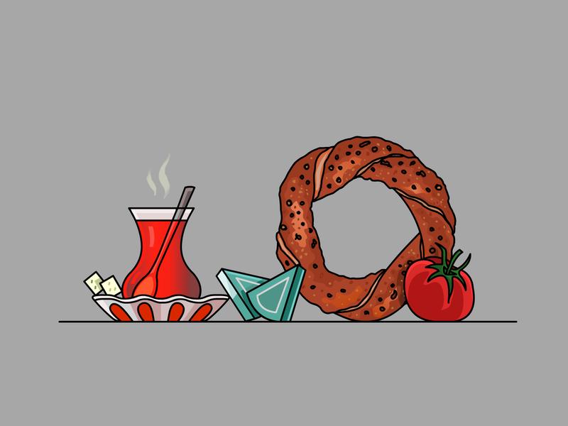 Turkish Tea & Bagel design lineart vector stroke demet kural illustrator beverage icon illustration bagel turkish tea