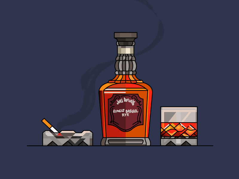 whiskey and cigarette stroke beverage icon demet kural illustrator vector lineart cigarette whiskey illustration