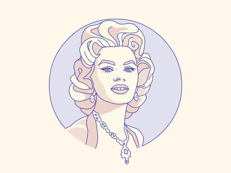 Sophia Loren badge lineart demet kural legend movie star hollywood sophia loren icon stroke illustrator illustration