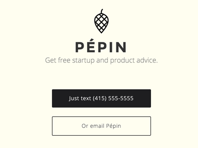Pépin Intro centered simple landing page
