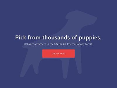 Puppygram landing page red puppies