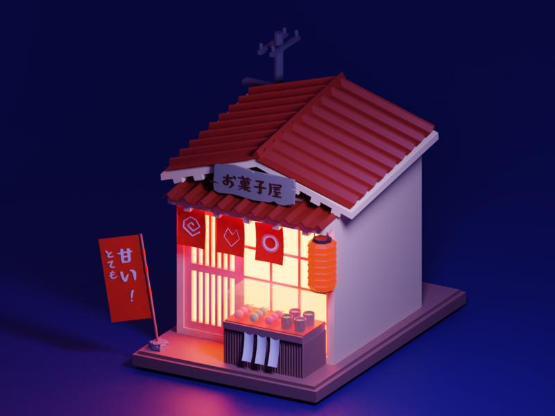 Japanese sweet shop lowpoly minimal isometric 3d art blender3d blender 3d