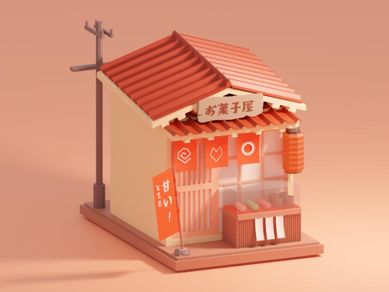Japanese sweet shop (in sunset) 3dart lowpoly minimal isometric 3d art blender3d blender 3d