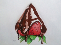 Realistic Strawberry With Chocolate