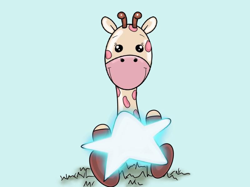 Cute Giraffe Illustration procreate photoshop sketch artist illustration