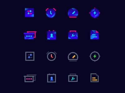 Icons of  intelligent hardware application(Dark bottom)