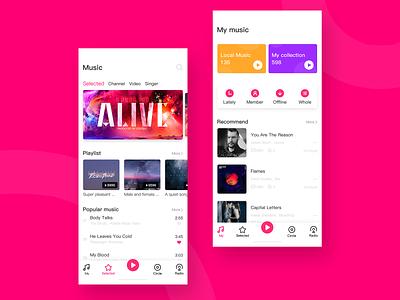 Intelligent music APP design illustration ui app