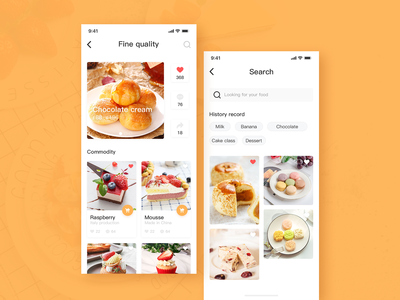 Food app / search page / product page