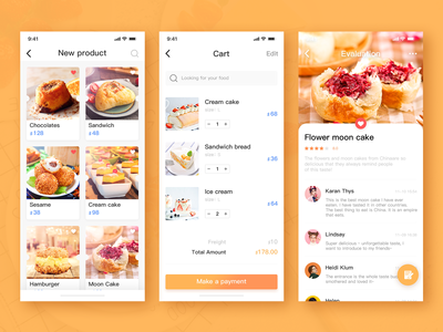 Food application, shopping cart page, list page, comment page