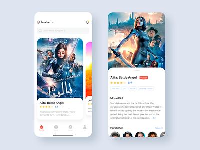 Movie ticket application home page movie app movie 卷筒纸 商标 插图 ps 设计 ui