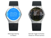 iWatch Mockup - iMessage & Camera Remote Trigger Detail View