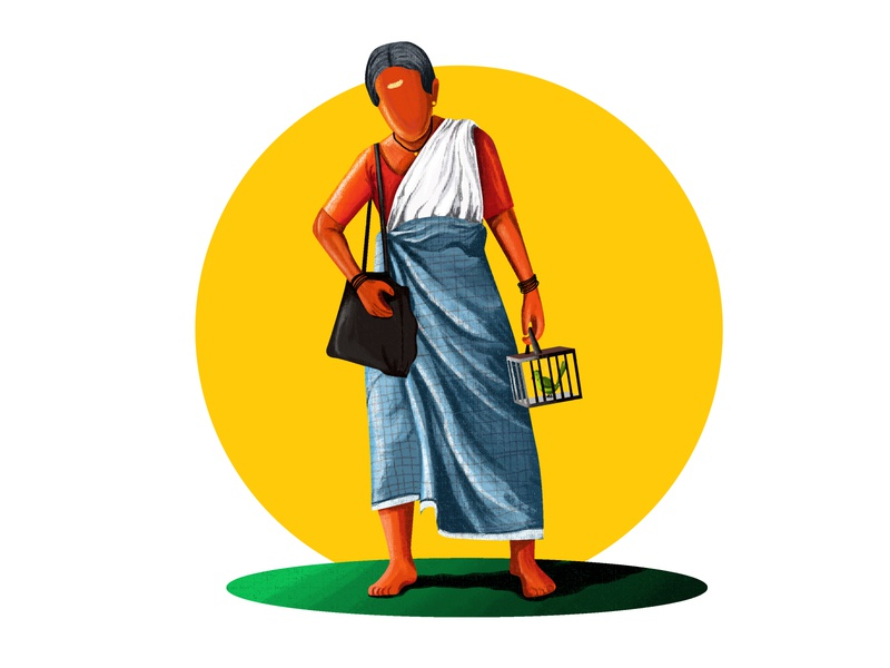 Kurathi digital painting vector digitalart character graphic  design drawing color illustration design