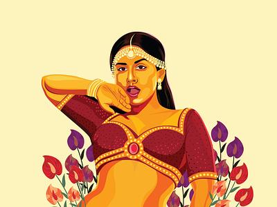 Vidya Balan movie poster film actress flower vector digital painting character graphic  design digitalart color drawing design illustration
