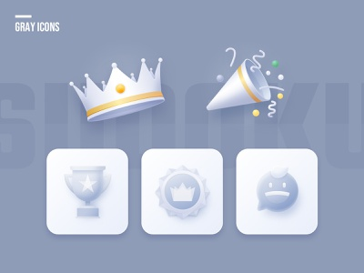 gray icon illustraion celebrate medal crown ui gray clean game icon sketch