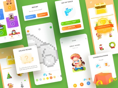 Dopixel2.0.0_5p cute mobile challenge colorful popups icon sketch ui