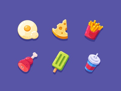 Foods popsicle cheese fried egg food colorful icon sketch ui