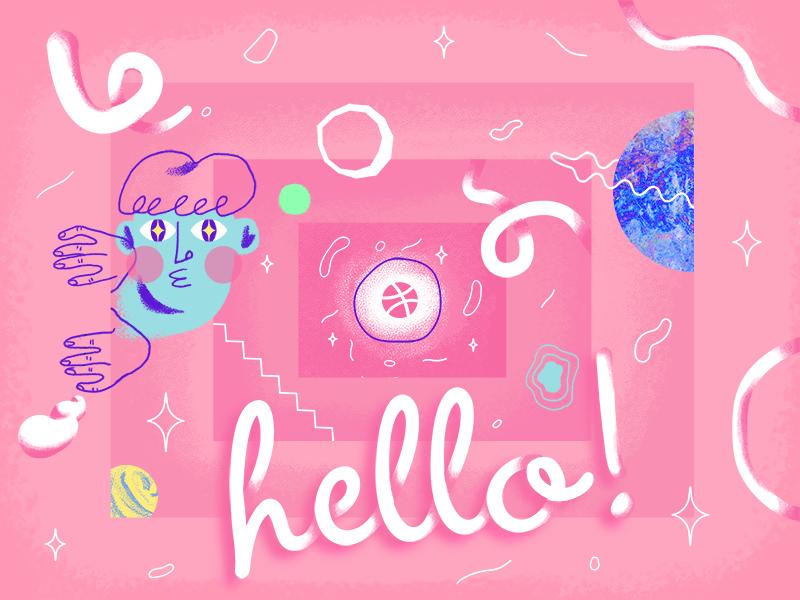 Hello! artwork vector illustration debut vector illustraion