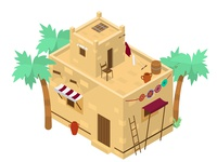 Middle Eastern isometric house