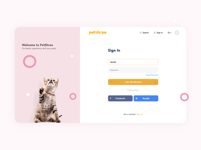 Sign In page for Petshree dailyui behance design pet pink pet profile pet sign in pet website sign in