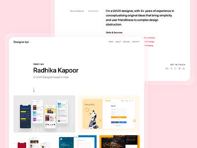 designerkpr.me designer.kpr designer portfolio website portfolio page domain.me