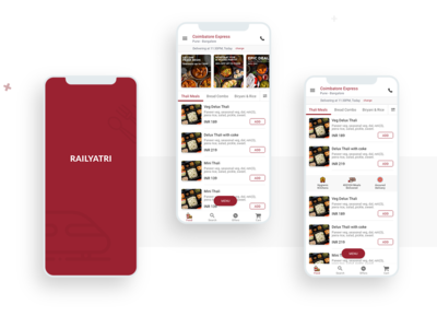 Railyatri- Order favorite food in trains. behance typography food app app design menu food minimal ux  ui ux design uxdesign daily ui ui design ui  ux dailyui illustration ui app design ux flat