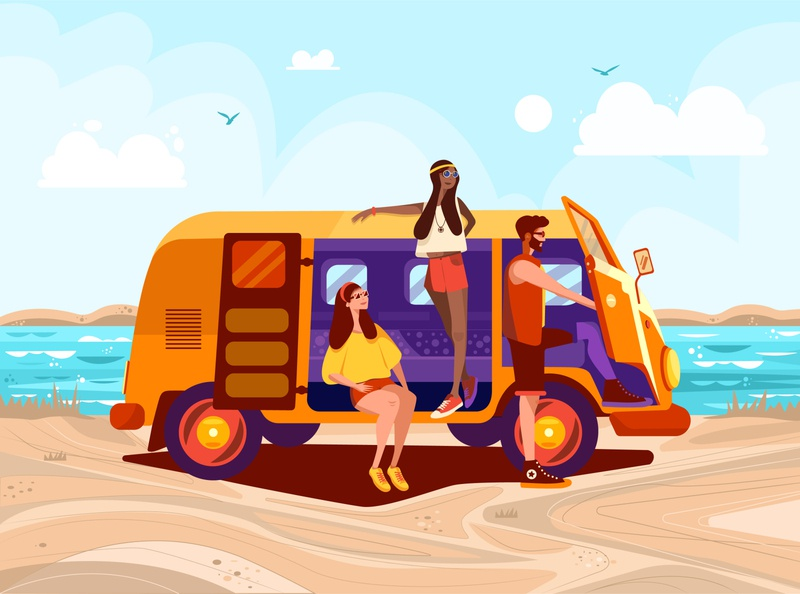 Summer Time waggon sunny sun sea beach summertime summer design vector illustrator illustration flat 2d art 2d