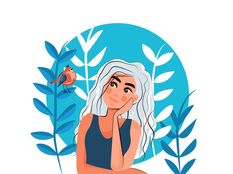 A Beautiful Conversation art plant cute mood character color artwork 2d flat vector design illustrations illustration illustrator bird girl
