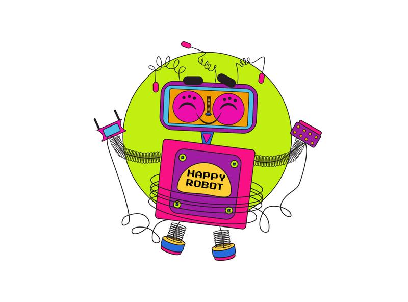 Happy Robot doodle art doodle character pixel tshirt design tshirt colorful happy robot artwork art design 2d art vector illustrator illustration flat 2d